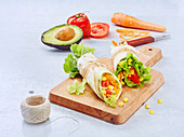 Raw vegetable and guacamole wraps