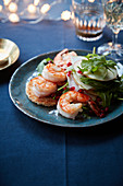 Pan-fried jumbo shrimps and a crisp apple,Tomme de brebis cheese and pomegranate Mille-feuille