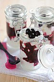 Fromage blanc and blueberry coulis jars
