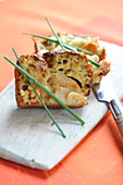Slices of light scallop savoury cake
