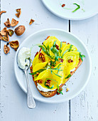Yellow beetroot,tarragon and walnut open sandwich