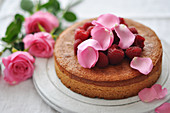 Rose water and raspberry cake