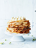 Pancake and lemon mousse cake