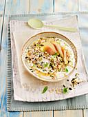 Yoghurt with muesli and pears