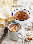 Hot chocolate with turmeric and hot chocolate with cocoa