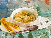 Orange lentil puree with spicy bananas