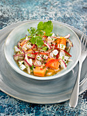 Squid ceviche with sweet potatoes and 3 citrus fruits