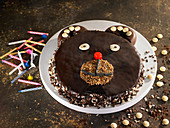 Children's bear's head Birthday cake