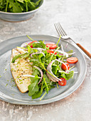 Grilled sea bream fillet with salad