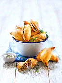 Pierojki,small croissant pies with beef and potato stuffing
