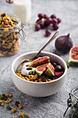 Homemade granola with squash seeds,figs,pistachios and red grapes