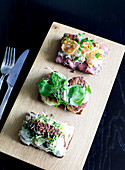 Scandinavian black bread open sandwich trio