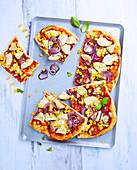 Pizza mit Artischocken und Mais, laktosefrei und ohne Butter