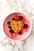 Heart shaped Brookies with red fruits