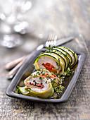 Tomato and basil stuffed chicken ballottines in a zucchini dress