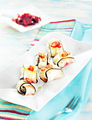 Black radish rolls with oyster surprise