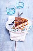 Two chocolate cake slice with caramel sauce