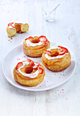 Strawberry Cronuts with Vanilla Icing
