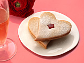 Shortbread hearts filled with red currant jam