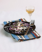 Fresh anchovies from Collioure and red onion salad