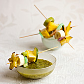 Fruit and sweet brochettes,kiwi puree