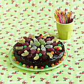 Chocolate yoghurt tutti frutti cake
