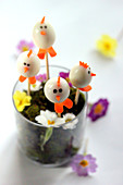 Chick quail's egg appetizers for Easter