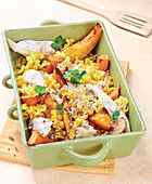 Pasta with roasted squash wedges and turkey
