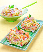 Spaghettis Carbonara nests with smoked ham