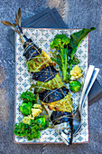 Mackerel wrapped in cabbages leaves