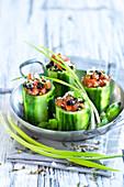 Greek-style stuffed cucumber wedges