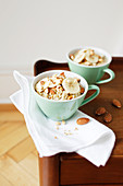 Rice pudding with almonds and banans
