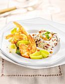 Gambas Flambé With 3 Rices,Lobster Sauce