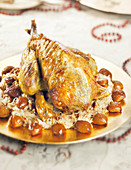 Roasted Guinea Fowl With Smoked Sauerkraut And Chestnuts