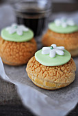 Choux Craquelins Decorated With Sugar Paste Flowers