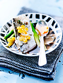 Whiting Marinated In White Wine,Leeks,Yellow Carrot Flowers And Celeriac