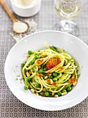 Spaghetti With Pistou,Peas,Pine Nuts And Salmon Roe