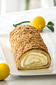 Sponge roll with lemon cream filling