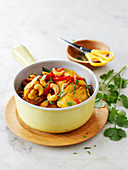Chicken Simmered With Red Peppers And Cashews