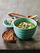 Cream Of Broccoli Soup With Crumbled Blue Cheese