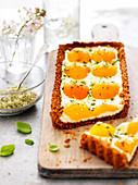 Cheesecake-Style Ricotta,Apricot And Basil-Flavored Sugar Rectangular Tart