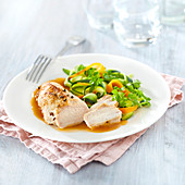 Chicken Fillet With Gravy,Thin Strips Of Courgettes And Carrots
