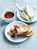 Camembert cheese with bell pepper jam