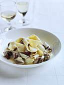 Veal Blanquette with Mushrooms and Fresh Pasta
