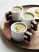 Cream of broccoli soup with croutons