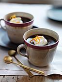 Chocolate Cream Dessert with Candied Orange Zest