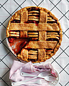 Crostata with ricotta cheese and strawberry jam