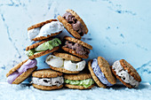 Anzac cookie sandwiches with ice cream