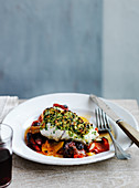 Bread and Herb Crusted Cod, Piperade