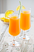 Couple Of Glasses Of A Healthy Fruit Juice